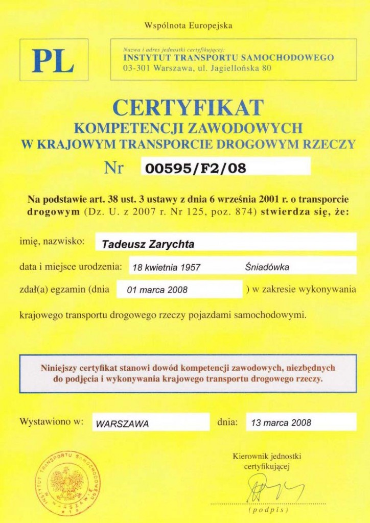 certyfikat przewozu rzeczy